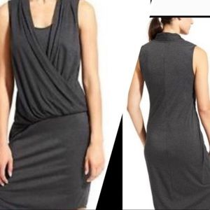 Athleta Duet faux wrap soft dress dark gray (S)